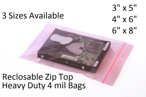 "Pink Anti-Static Zip Lock Bags Heavy-Duty 4mil Reclosable PAS 3x5"" 4x6"" 6x8"""