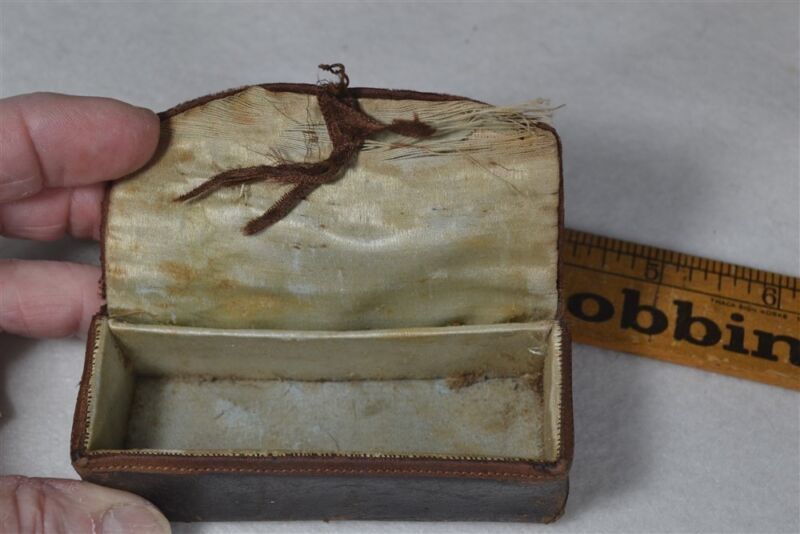 sewing thread box case Shaker religious Community leather antique original 1800