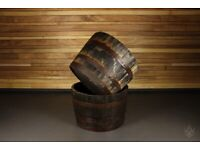 Reclaimed Oak Whiskey Barrel 1/2 Size