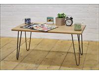 Rustic Vintage Industrial Solid Oak Coffee Table Bare Steel Hairpin Legs