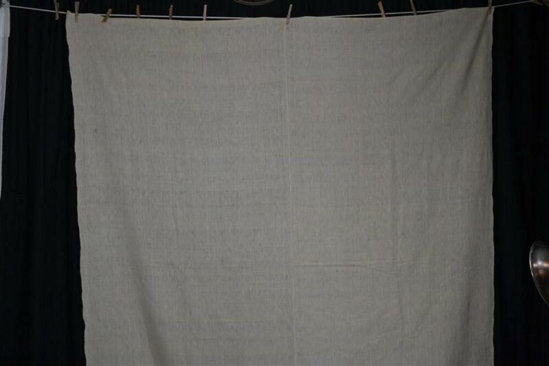 antique blanket wool hand woven homespun civil war era 72x87 signed early 19thc