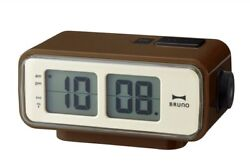 BRUNO LCD Retro Digital Alarm Clock S Brown BCR003-BR With Tracking From Japan