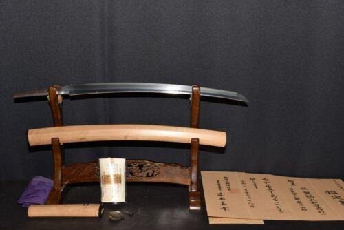 """(AN-16) WAKIZASHI MUMEI """"YAMAMOTO KAMI TADAYUKI"""" with Judgment paper Edo"""