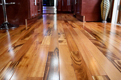 "4"" Obvious Prefinished Solid Brazilian Tigerwood Koa Wood Hardwood Flooring Sample"
