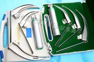 German-mccoy Flexi-tip Fiberoptic Led Laryngoscope Set- Mac 1 2 3handle