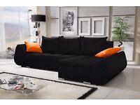 """Corner sofa bed sofa bed UK STOCK 1-5 DAY DELIVERY""""Lugano""""Black"""
