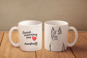Amstaff cropped - ceramic cup, mug &quot;Good morning and love &quot;, CA - <span itemprop='availableAtOrFrom'>Zary, Polska</span> - Amstaff cropped - ceramic cup, mug &quot;Good morning and love &quot;, CA - Zary, Polska