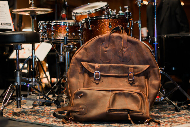 """Woodshed Leatherworks Brown Leather Deluxe 22"""" Cymbal Bag"""
