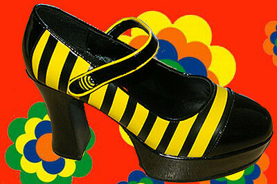 S18✪ 70er Jahre Hippie Plateau Schuhe Blumenkinder Biene Maja gelb schwarz