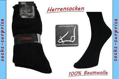 15 Paar Herren-Socken schwarz 100% BW nahtlos 47/50