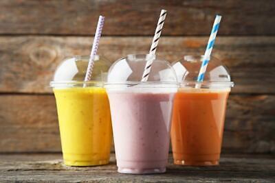 & Lids Clear Plastic Party Milkshake Slush with STRAWS (Cups 16 Oz)
