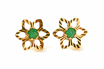9ct Gold Emerald Star studs Earrings Gift Boxed Made in UK Christmas Xmas Gift