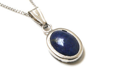 9ct White Gold Oval Lapis Lazuli Pendant Necklace and chain Gift Boxed UK Made