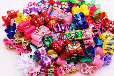 100 Dif PET Puppy grooming dog hair Bows bands clips Yorkie  Maltese 2 Free bows