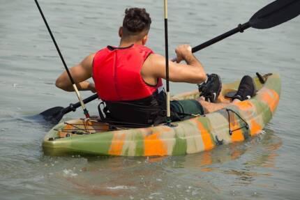 2.65M Single Sit-on Kayak Fishing Boat Canoe 5 Rod Holders Padded