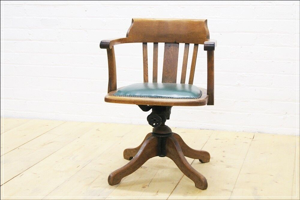 Antique Office Swivel Chair Armchair Desk Chair Captain Industrial In