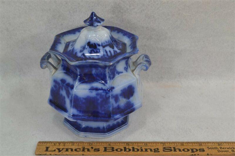 antique sugar bowl flow blue china porcelain Formosa original 1860