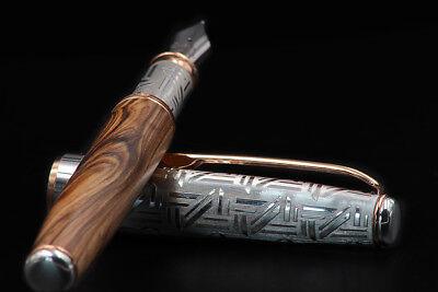 Athena 925 Silver & Olive Wood Fountain Pen EF Nib Black Waterman Type Cartridge