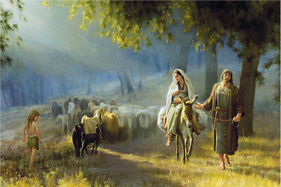 Home Decor HD Prints oil painting art The Road to Bethlehem By Joseph