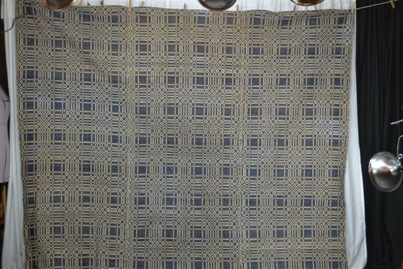 antique coverlet linen wool blue large 94 x 108 hand made early 1850 original