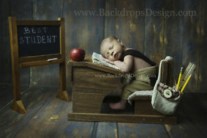 School Desk and Chalkboard  photography newborn vintage prop wood hand made
