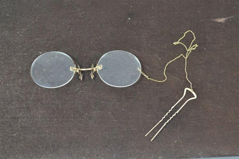 antique eyeglasses pincher nose no frame gold chain hairpin 10K original 19th c