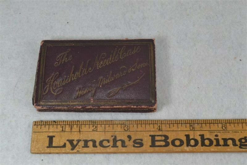 antique sewing needle case advertising Household Needle Case contents original