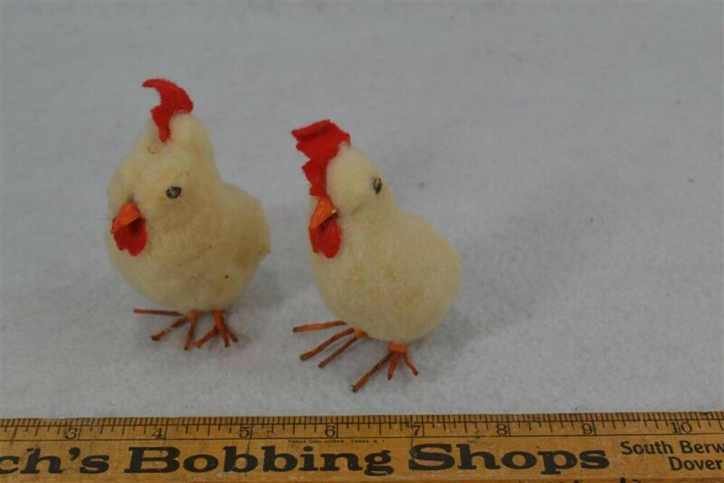 antique cotton chicks hens wire feet 3 in. matched pair original