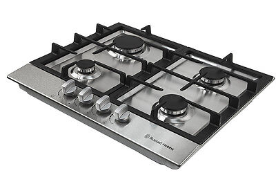 Russell Hobbs Gas Hob with 4 Gas Burners, Manual Dial Control, RH60GH402SS