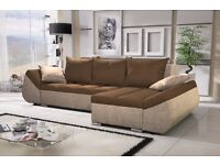 Corner sofa bed sofa bed UK STOCK 1-5 DAY DELIVERY(Brown-Beige)
