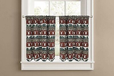 Colordrift Wilderness Tier Set or Valance Kitchen Curtains Spice Deer Trees ()