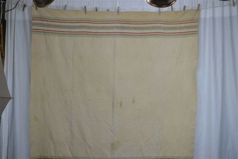 early old blanket camp 70 x 74 civil War Era hand spun hand woven 19th c 1800s
