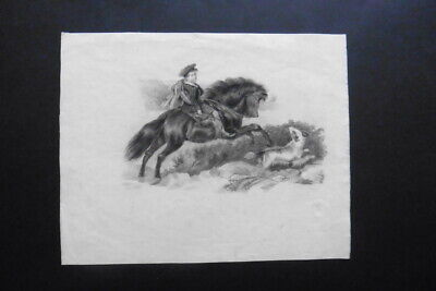 FRENCH ROMANTIC SCHOOL 19thC - THE SCOTTISH HUNTER - PENCIL DRAWING