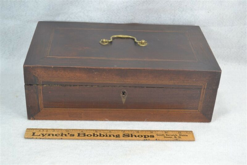 antique document box wooden mahogany string inlay key 19th c original 1800