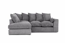 1 YEAR WARRANTY | DYLAN JUMBO CORD GREY CORNER OR 3+2 SOFA | EXPRESS DELIVERY ALL UK | SPRING BASE