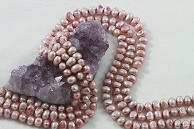 """15.5"""" Cultured Fresh Water Pearl Beads Nuggets 6x8mm PINK *FREE SHIPPING"""
