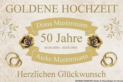 Schild Geschenk - GOLDENE HOCHZEIT 50. Jahre - INDIVIDUELL mit Namen & Datum A4