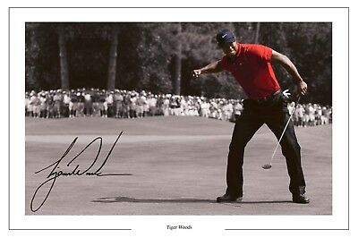 TIGER WOODS OPEN GOLF AUTOGRAPH SIGNED PHOTO PRINT