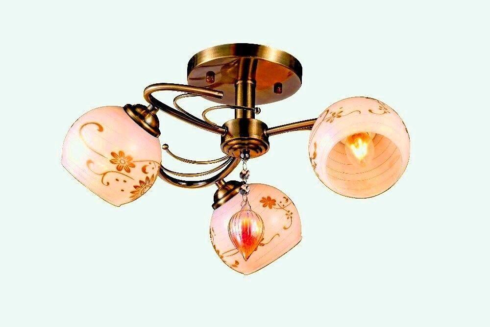 Vintage Modern Fixture Ceiling 3 Light Lighting Glass Pendan