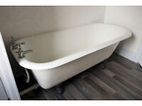 Free Standing Roll Top Bath(cast iron) and Taps, needs re-enamelling