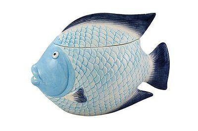 G4739: Deckeldose Fisch, maritime Keramik Terrine, Keks Dose Fisch, Vorratsdose