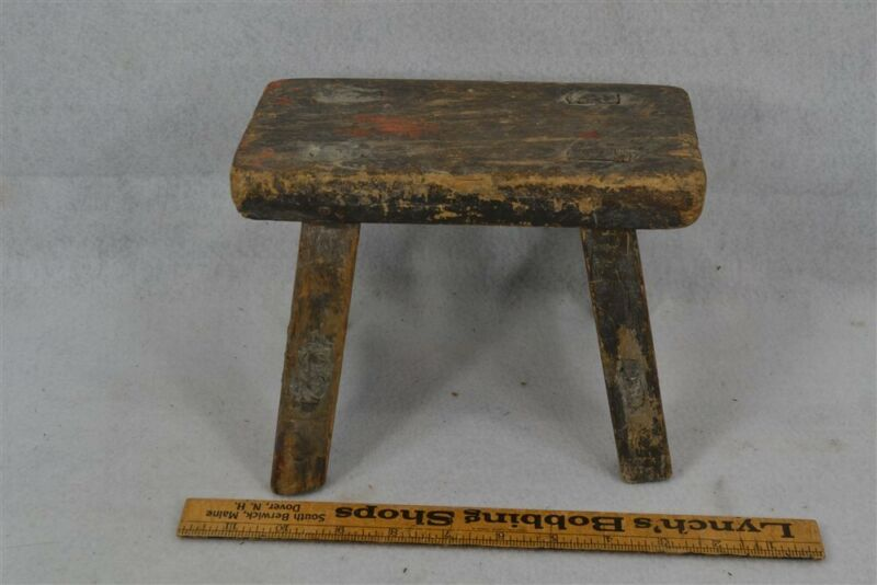 early old 18thc mortised footstool cricket small hand made 6.5 tall original
