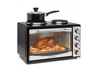 Andrew James Mini Oven With Hob & Grill | 1300W 33L Electric Oven with Double Hotplate 700W & 1000W