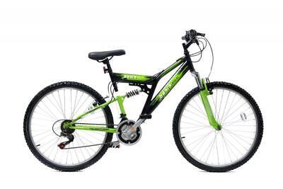 "Basis 2 Full Dual Suspension MTB Mens Unisex Mountain Bike 26"" Wheel 18 Sp Green"