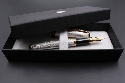 Solid Silver Wickerwork Fountain Pen Extra Fine Nib Blue Ink Waterman Cartridges