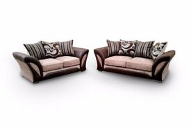 SHANNON 3 + 2 SEATER CHENILLE FABRIC SOFA SETTEE, DUAL ARM CORNER SUITE IN GREY AND BEIGE