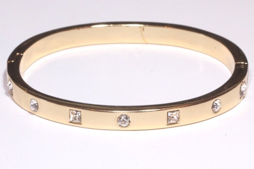 Damen Armspange Oval mit Swarovski Kristall Gold Armreif Ketten Freundschaft