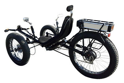 Big tire recumbent electric trike, electric tricycle, snow and beach tricycle