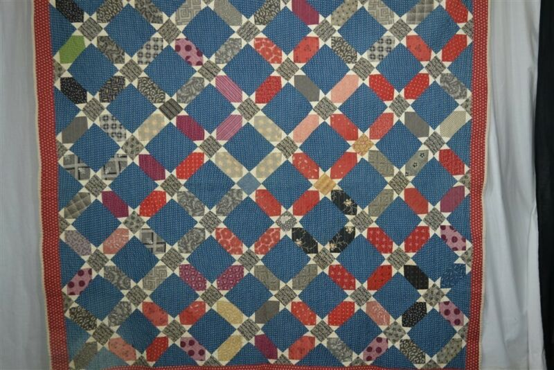 early old quilt cotton calico stars red blue 73x77 hand made original 19th c