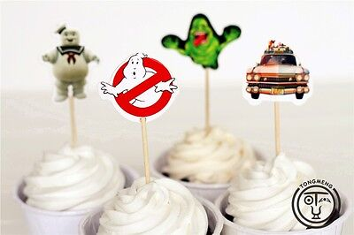 Ghostbusters Theme Party (12 x Ghostbusters Theme Cake Picks Cupcake Toppers Flags Kids Birthday Party)